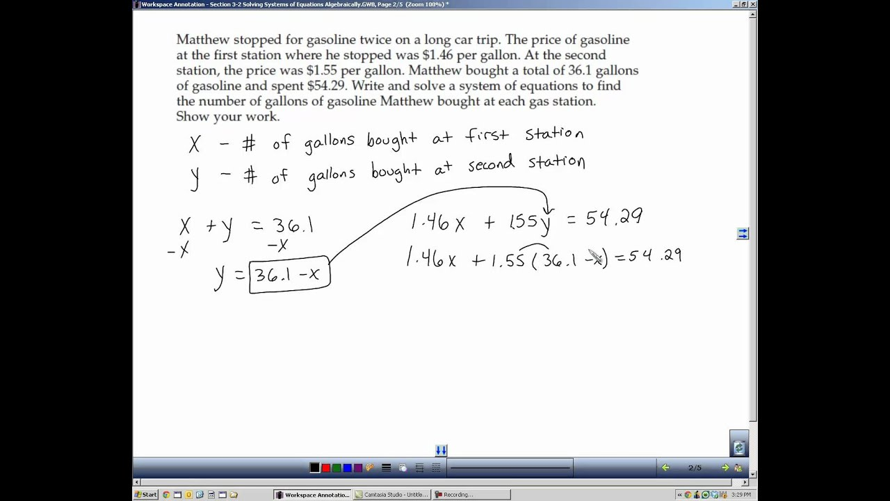 Algebra 2 Section 3 2 Solving Systems of Equations Algebraically