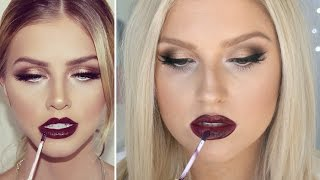Deep Metallic Golden Eyes & Dark Berry Lips! ♡ Glam For Autumn & Winter!