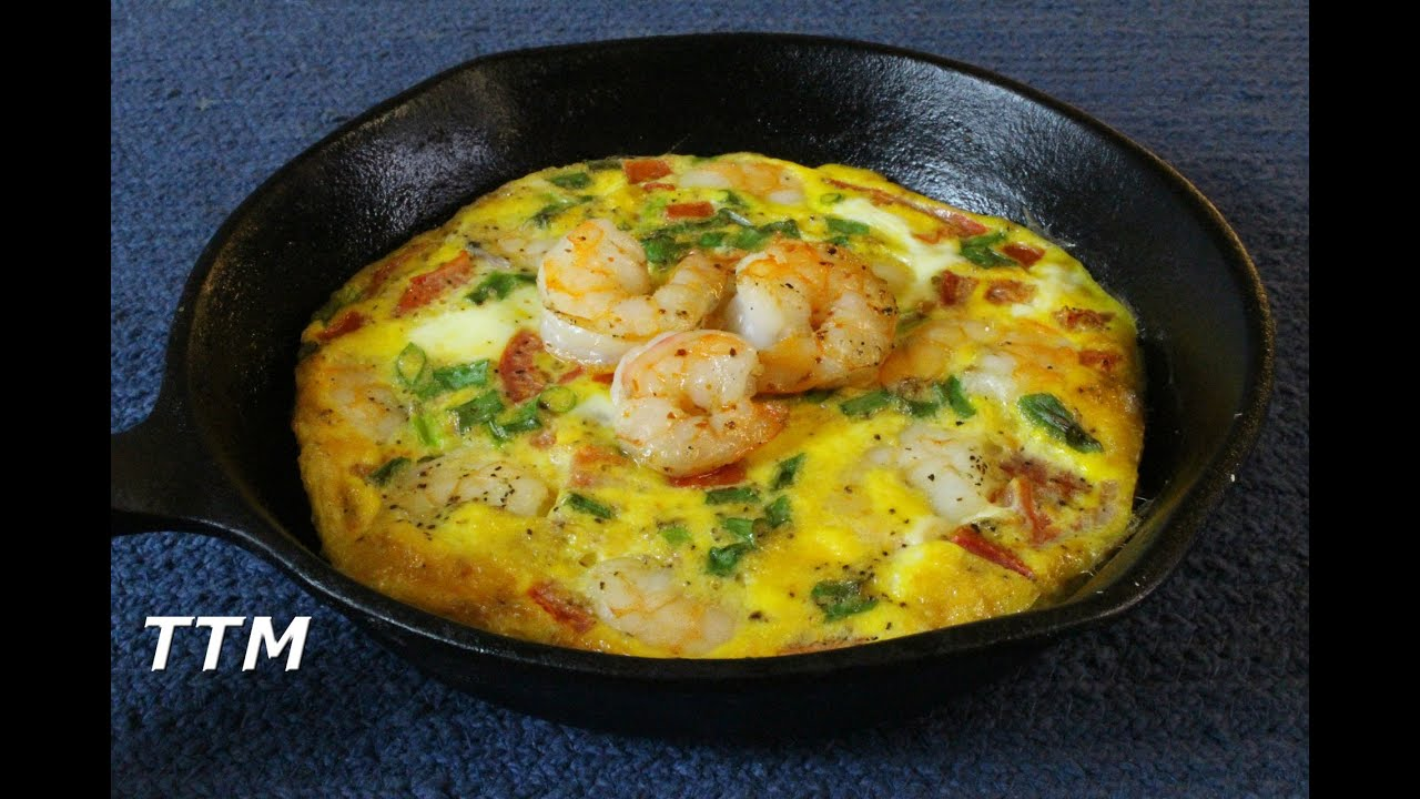 Healthy Baked Shrimp And Eggs Breakfast Frittata In The Cast Iron Skillet Youtube