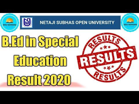 B.Ed in Special Education Result 2020 Published || NSOU Exam Result Published
