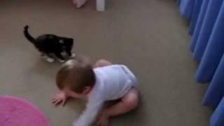 Котенок и ребенок играют