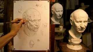 Обучение рисунку. Портрет. 12 серия: построение головы римлянина и общие вопросы построения