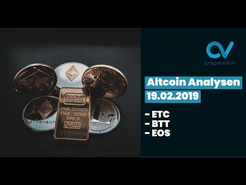 Altcoin Analysen zu ETC,BTT und EOS