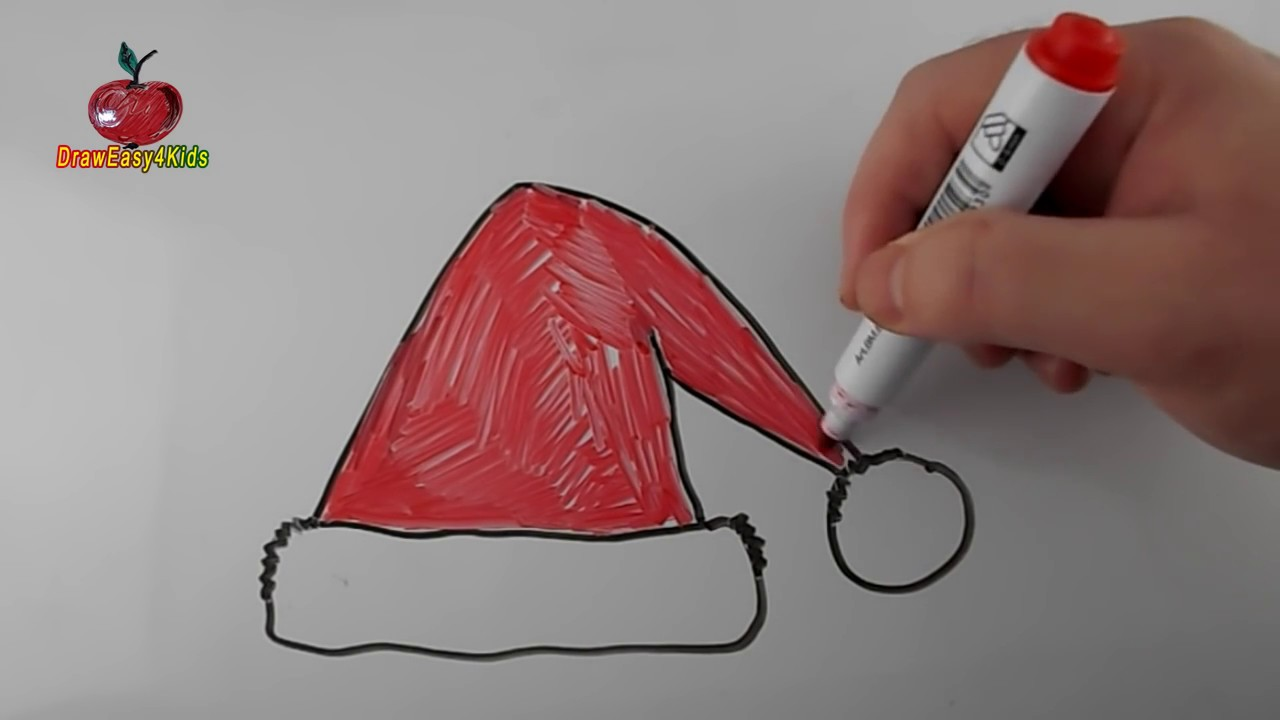 How To Draw A Santa Claus Hat Step By Step Easy For Kids Youtube