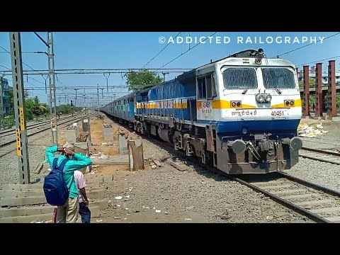 HUNK HONKER : KJM WDP-4D honking vigorously with Coimbatore express slows down and skips diva..