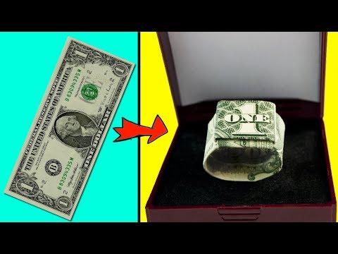 DIY - Dollar Origami Ring ( Moneygami) Paper Craft