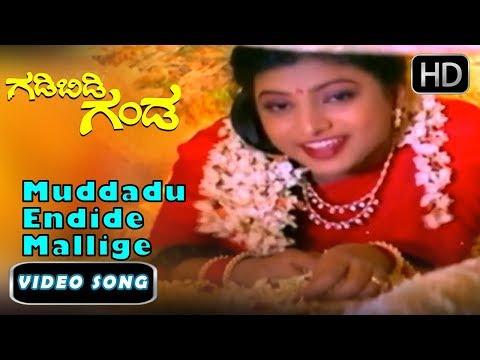 Ravichandran Hits |  Muddadu Endide Mallige Hoov Song | Gadibidi Ganda Kannada Movie | Kannada Songs