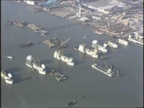 Thames Flood Barrier   Thames Barrier Under Construction   London Aerials   1980's