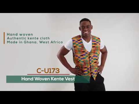 Hand woven kente fabric mens vest - Authentic from Ghana, West Africa