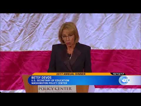 U.S. Secretary of Education Betsy DeVos speaks at WPC's 2017 Annual Dinner in Bellevue