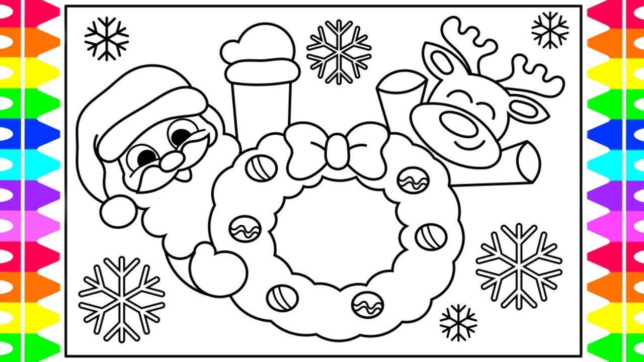 How to Draw Santa and Reindeer for Kids   Santa Coloring Pages for ...