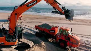 Calming Beach Footage of Doosan Heavy Equipment