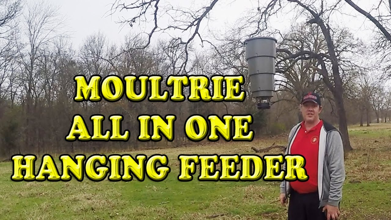 MOULTRIE 5 GALLON ALL IN ONE HANGING FEEDER UNBOXING AND DEMONSTRATION
