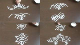 8 small side border kolam without dots||kolam side designs for learners