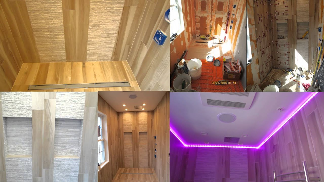 Wood look Plank Tile Curbless Shower Split Screen