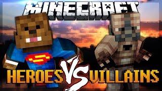 Minecraft Super Hero Mod vs Super Villains Mod (Mod Battles) | JeromeASF