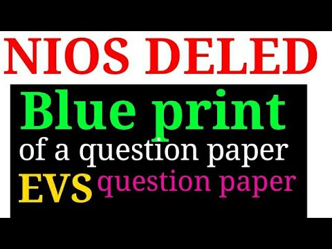 Blue Print Of A Question Paper Question Paper Of Evs Nios