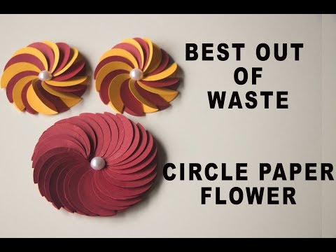 Easiest circle paper flower out of scrap paper / DIY  in 2 minutes