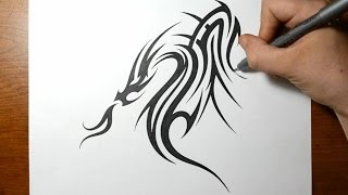 cool drawing designs dragon tribal draw easy tattoo awesome drawings step