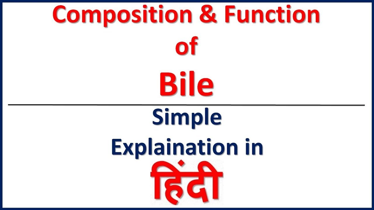 Composition Functions Of Bile Simple Explaination In Hindi