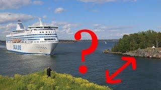 Huge Baltic ferry crossing a narrow path - Suomenlinna, Helsinki thumbnail