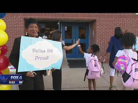 Excited Students Return To School In Dallas