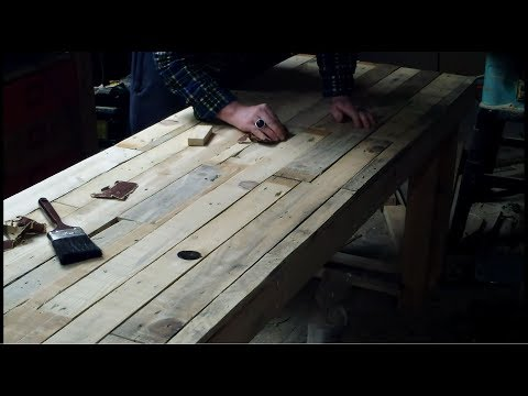 How to Sand Pallet Table Top - DIY Pallet Computer Desk Part 8