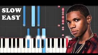A Boogie Wit Da Hoodie - Look Back At It (SLOW EASY PIANO TUTORIAL)