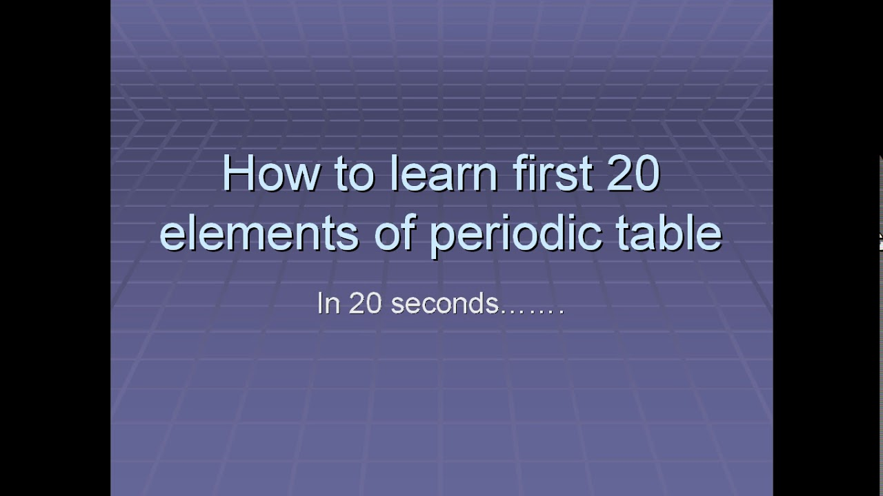 How to learn first 20 elements of periodic table in 20 minutes how to learn first 20 elements of periodic table in 20 minutes must watch gamestrikefo Gallery