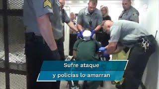 """En el video se puede apreciar a un preso siendo aparentemente """"atado"""" por policías en el centro penitenciario Luzerne en Pensilvania, EU, se viralizó en la últimas horas, pese a que el hecho ocurrió en 2018"""