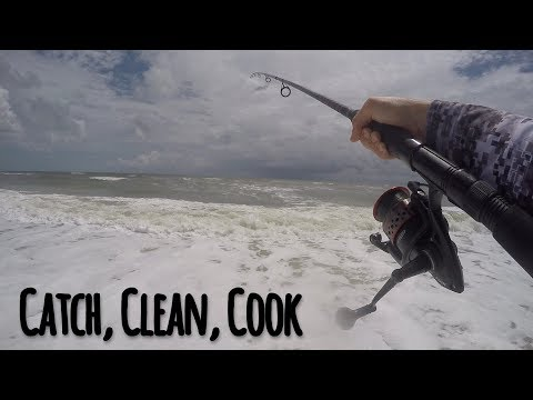 Fishing In A ROUGH SURF From The Beach (Catch, Clean, Cook)