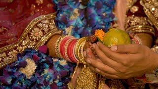 Shot of auspicious ceremony of Indian wedding