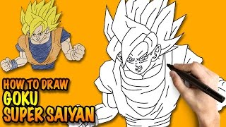 How to draw Goku Super Saiyan Dragon Ball Z - Easy step-by-step drawing lessons for kids