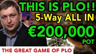 €200,000 5-Way-All-In!! WTF!! Insane Pot Limit Omaha Action!!