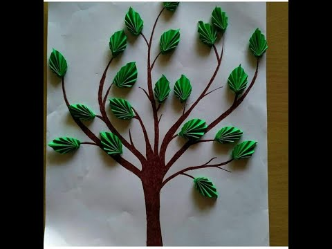 Diy tree art with craft paper leaves