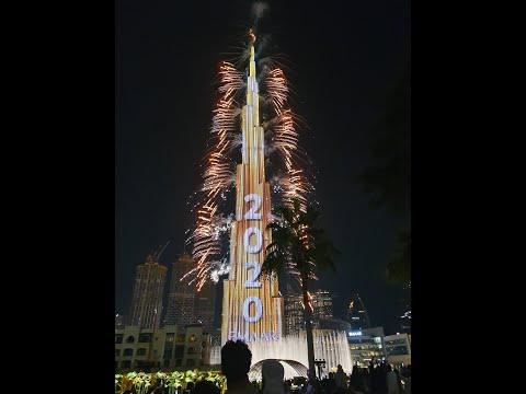 Tűzijáték 2020. január 1. Dubai, Burj Khalifa. Burj Khalifa Fireworks, Dubai 01.01.2020.