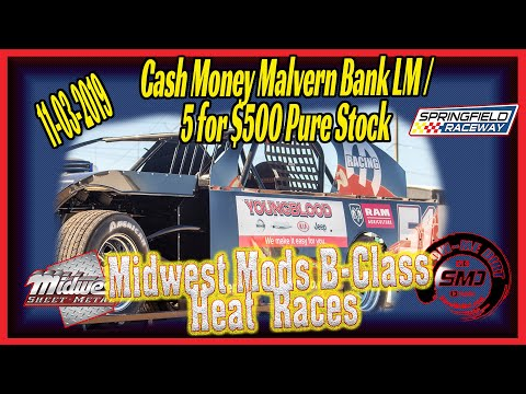 Midwest Modified Racing B➜Class Heat Races Springfield Raceway 11➜03➜2019  Dirt Track Racing