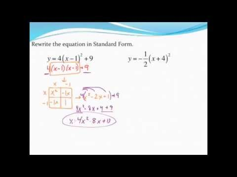 Rewriting A Quadratic Equation In Standard Form Box Method Youtube