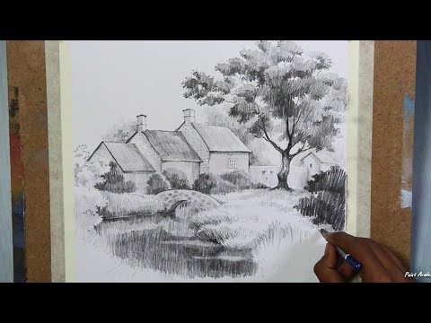 Learn Pencil Drawing House Landscape
