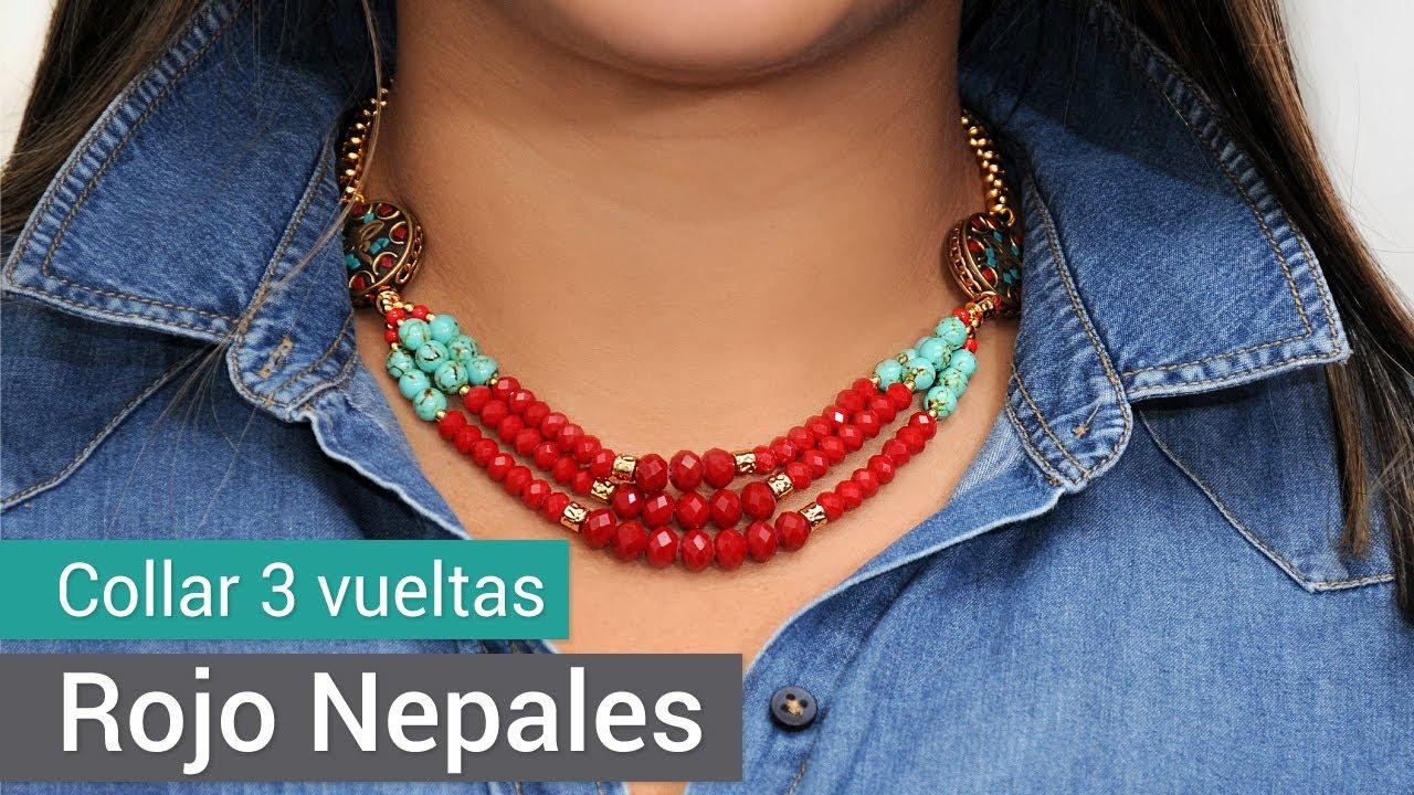 e7fc131a2e0d Cómo hacer un Collar tres vueltas rojo Nepalés - Variedades y Fantasías  Carol