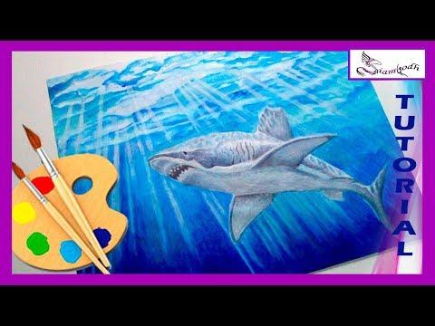 Como Dibujar un Tiburón en el Océano   Técnica Mixta Acuarela  Acrílico y Lápices de Colores