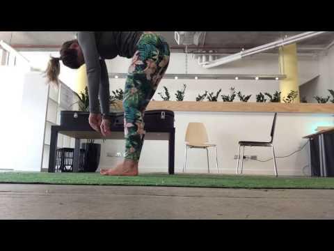 Yoga on Fake Golf Grass at Work