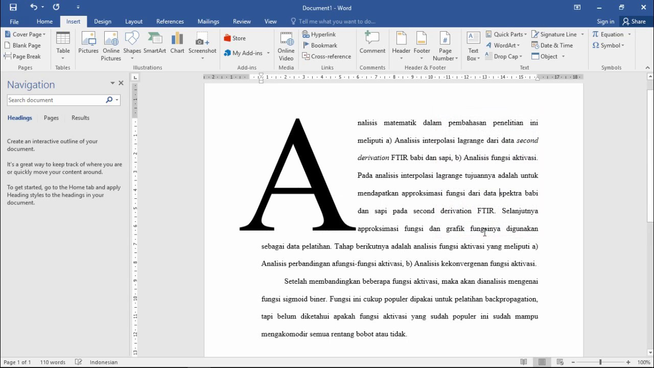 make a big first letter or drop cap microsoft word