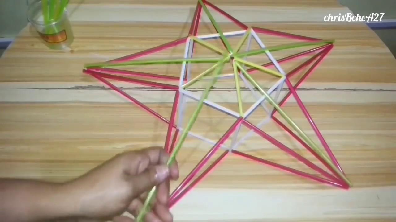 DIY# 74 Star/Xmas Lantern/Parol Made Of Drinking Straw #2 - YouTube for Straw Lantern  585hul