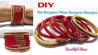 DIY||How to Make Old Bangles Turn in to New Silk thread Designer Bangles//ReUse Ideas/Bridal Bangles