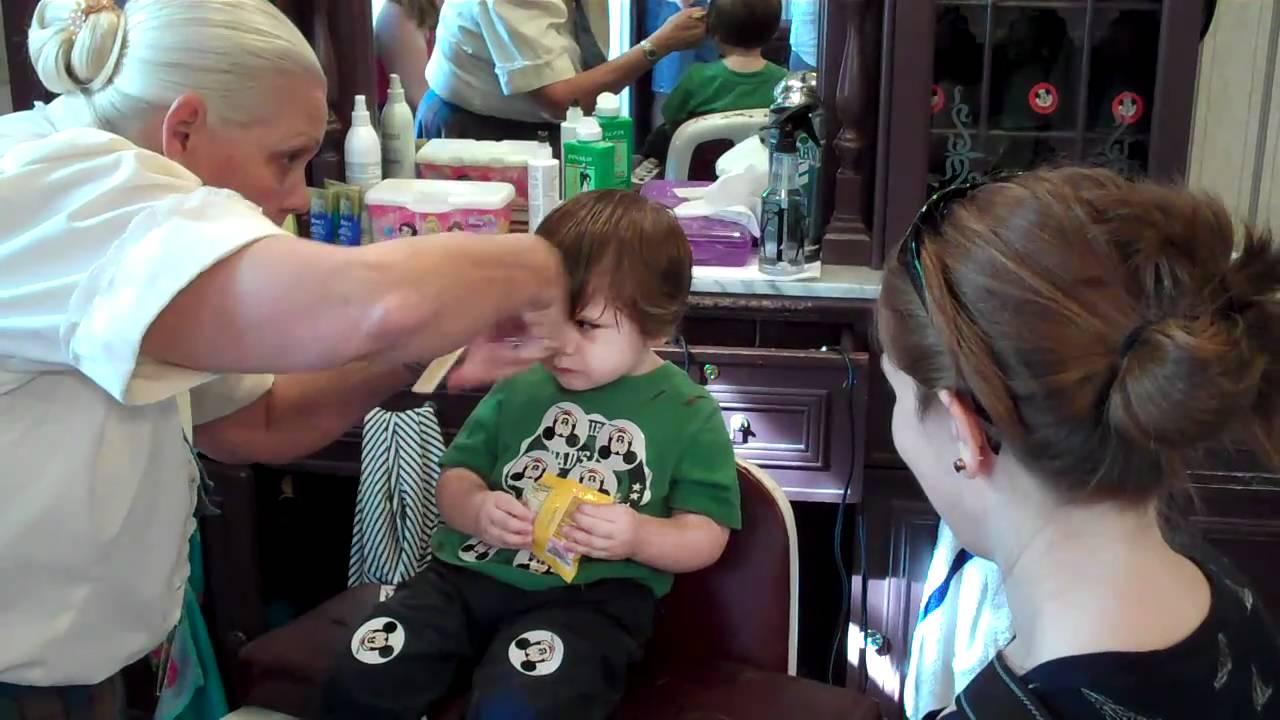 First Haircut Walt Disney World Main St Barbershop Youtube