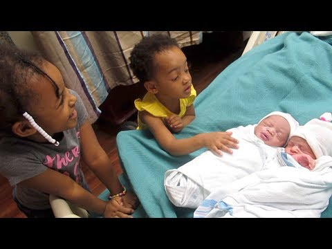 The Girls First Time Meeting The Newborn Twins   Raw Reaction