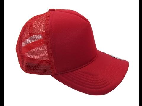 6df6260853 Boné Trucker De Redinha Snapback Vermelho Liso Telinha - YouTube