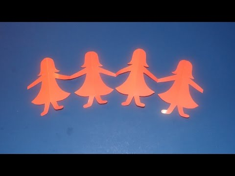 How To Cut A Paper Doll Chain - Hand In Hand