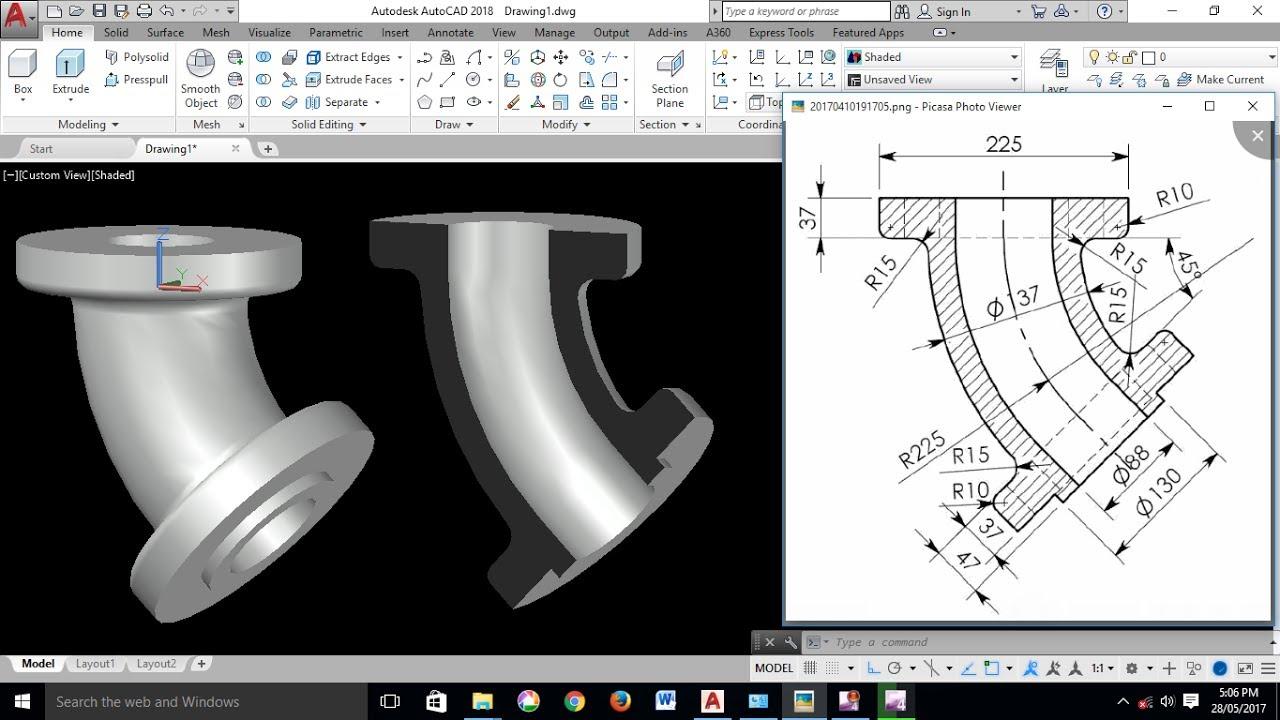 AutoCAD 3D Exercises Tutorials / Basics & Advance/ Pipe Bend 45° / Mechanical Part Model -1 ...